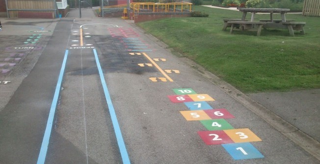 Thermoplastic Playground Hopscotch in Aberffrwd